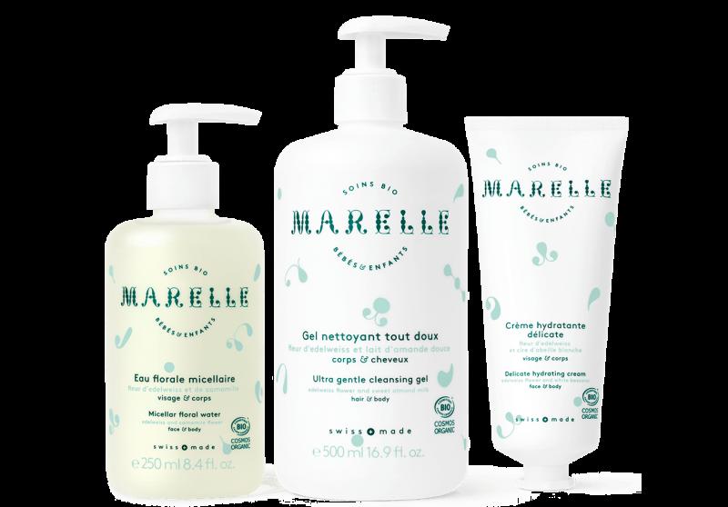 Marelle soins bio bébés et enfants gel nettoyant tout doux, Eau florale micellaire, Crème hydratante délicate